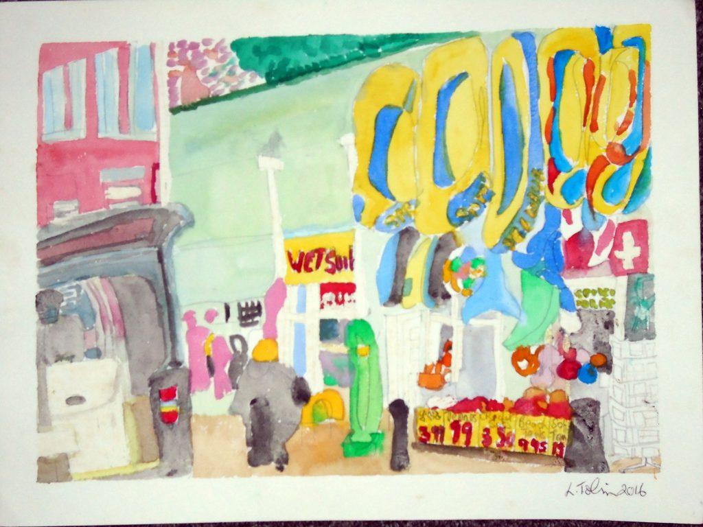Tenby Joke shop Watercolour 54x44 £135