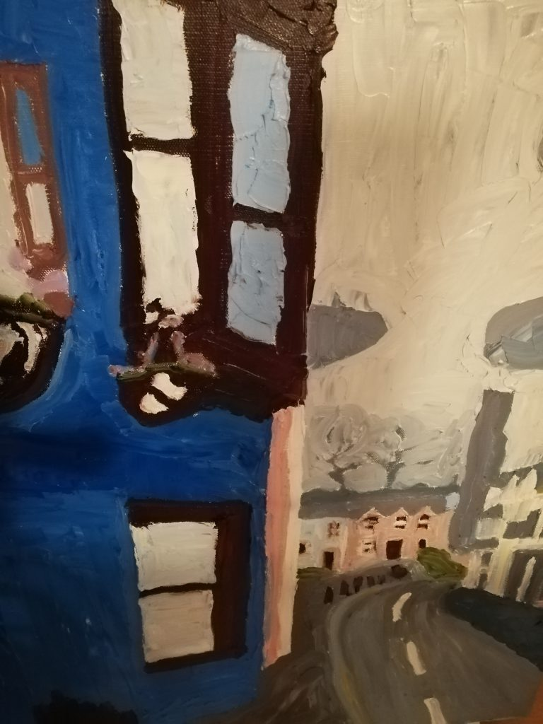 Narberth street scene Oil on canvas 50x61cm NFS