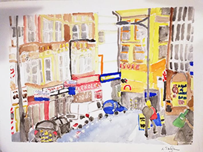 Street scene Newport watercolour 41x31cm unframed £85