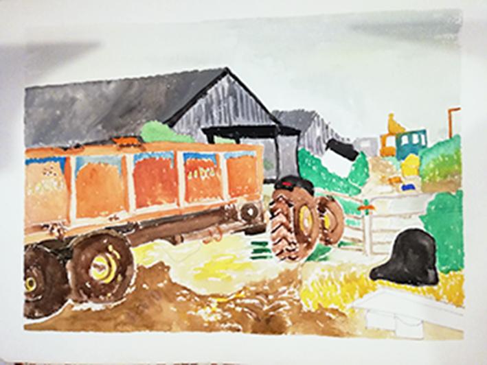 Tractor watercolour 41x31cm unframed £85