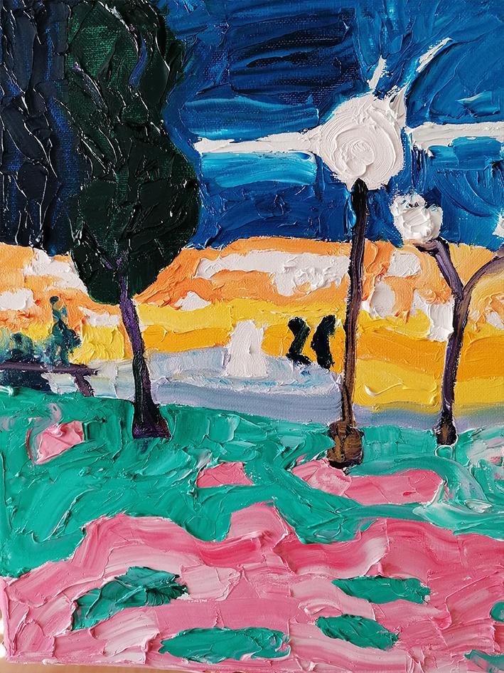 Kipselli Square at night Oil on canvas 41x41cm £300